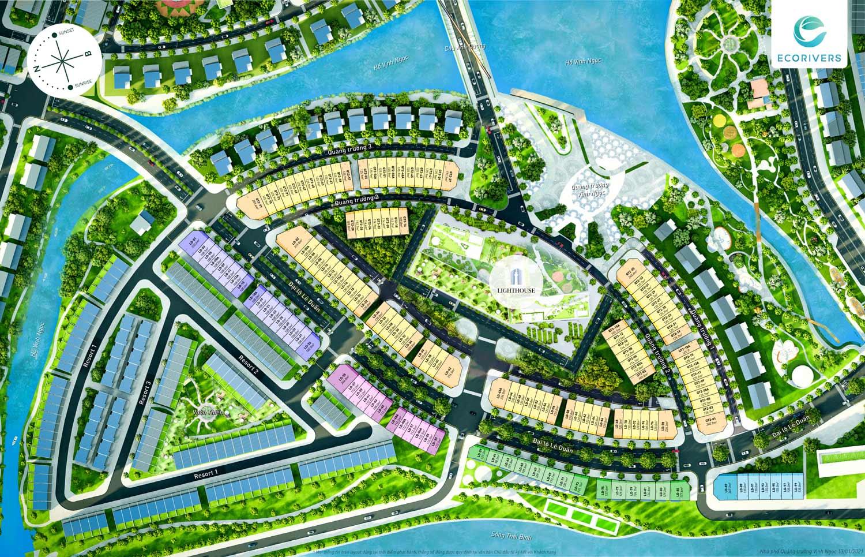 Tổng mặt bằng dự án Nhà phố Vịnh Ngọc Ecorivers Hải Dương