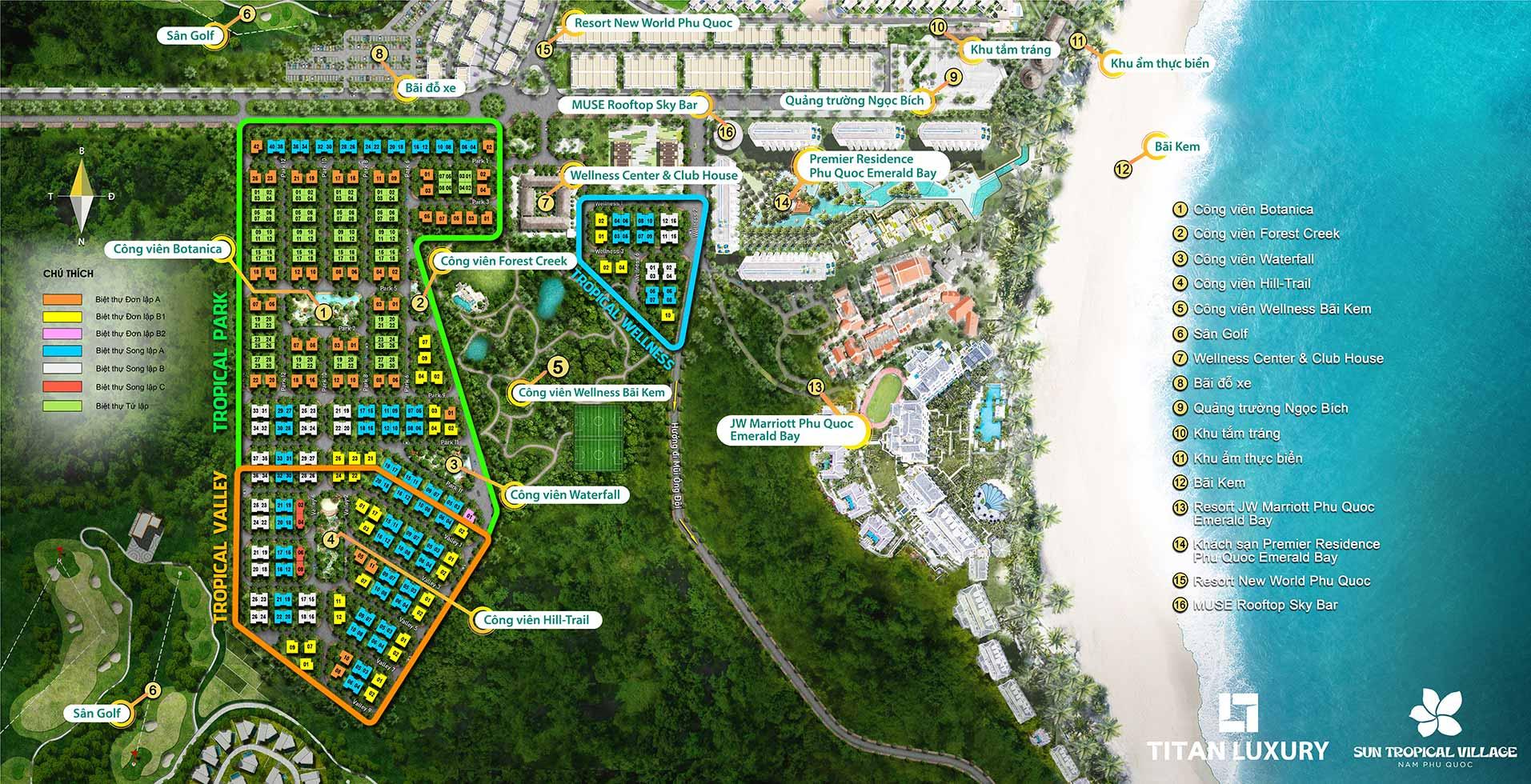 Tổng mặt bằng dự án Sun Tropical Village Phú Quốc