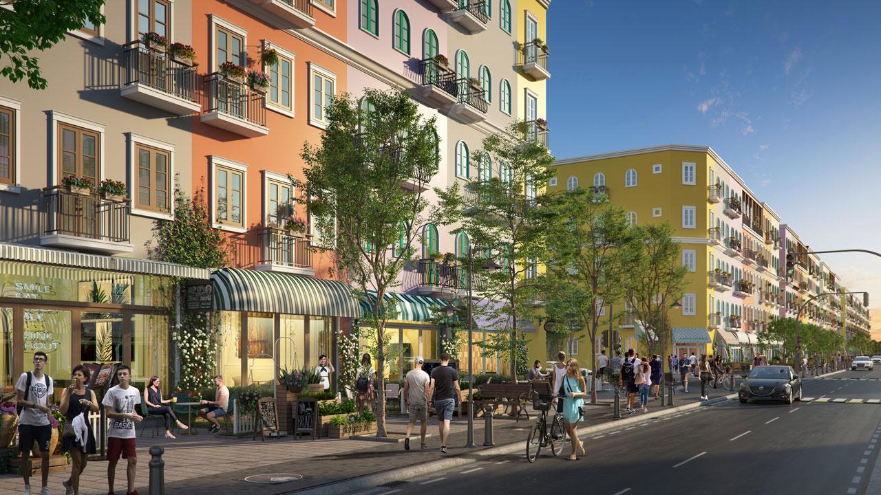 Các căn nhà phố tại dự án có diện tích lớn với thiết kế Địa Trung Hải tinh tế