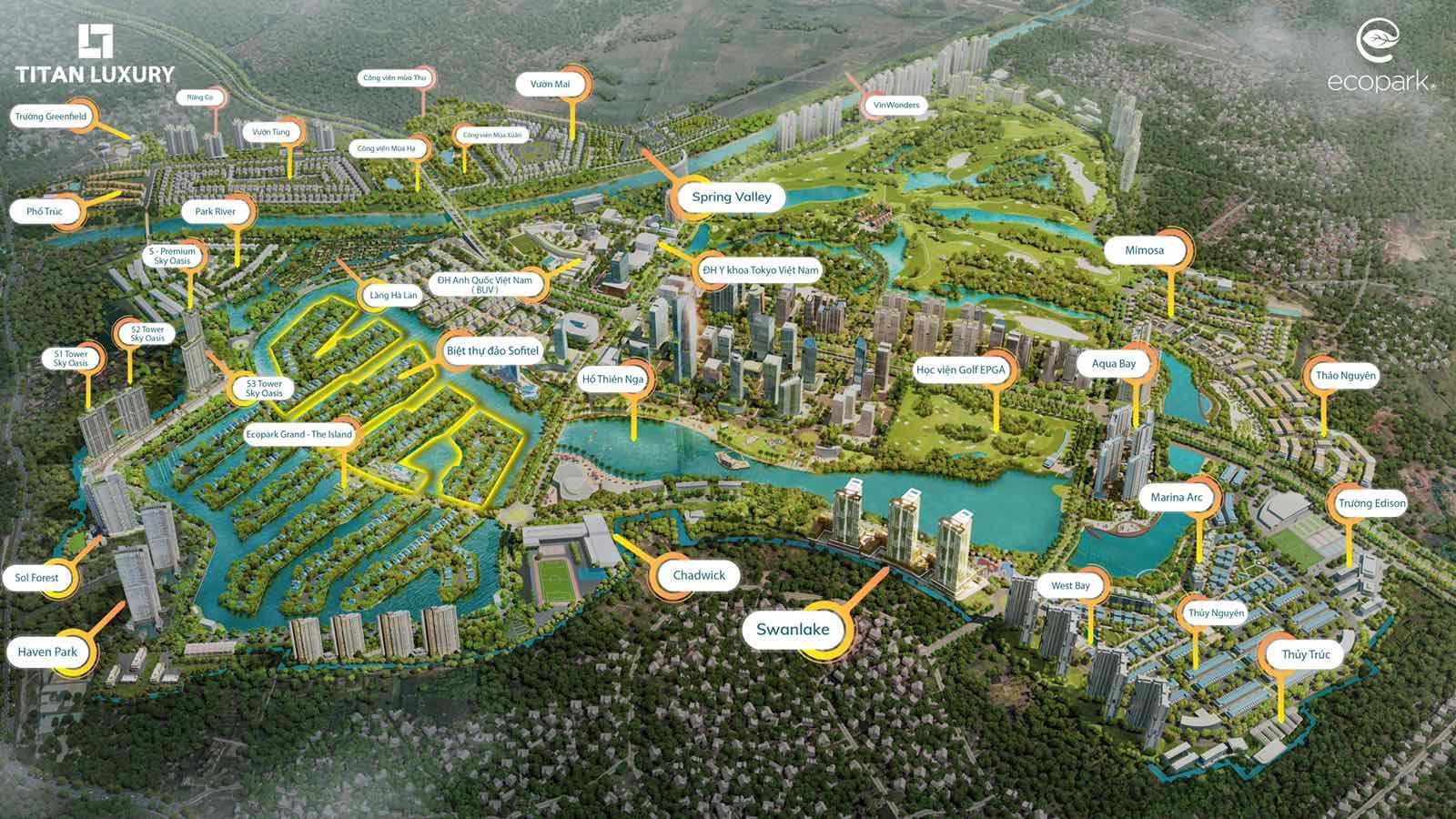 vị trí biệt thự đảo lớn Ecopark