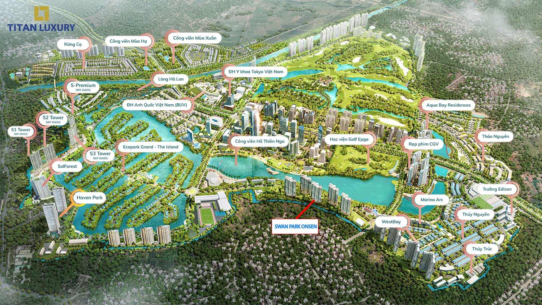 Swan Lake nằm trên cung đường ven hồ Thiên Nga hưởng trọn tầm view hồ và khu CBD Ecopark