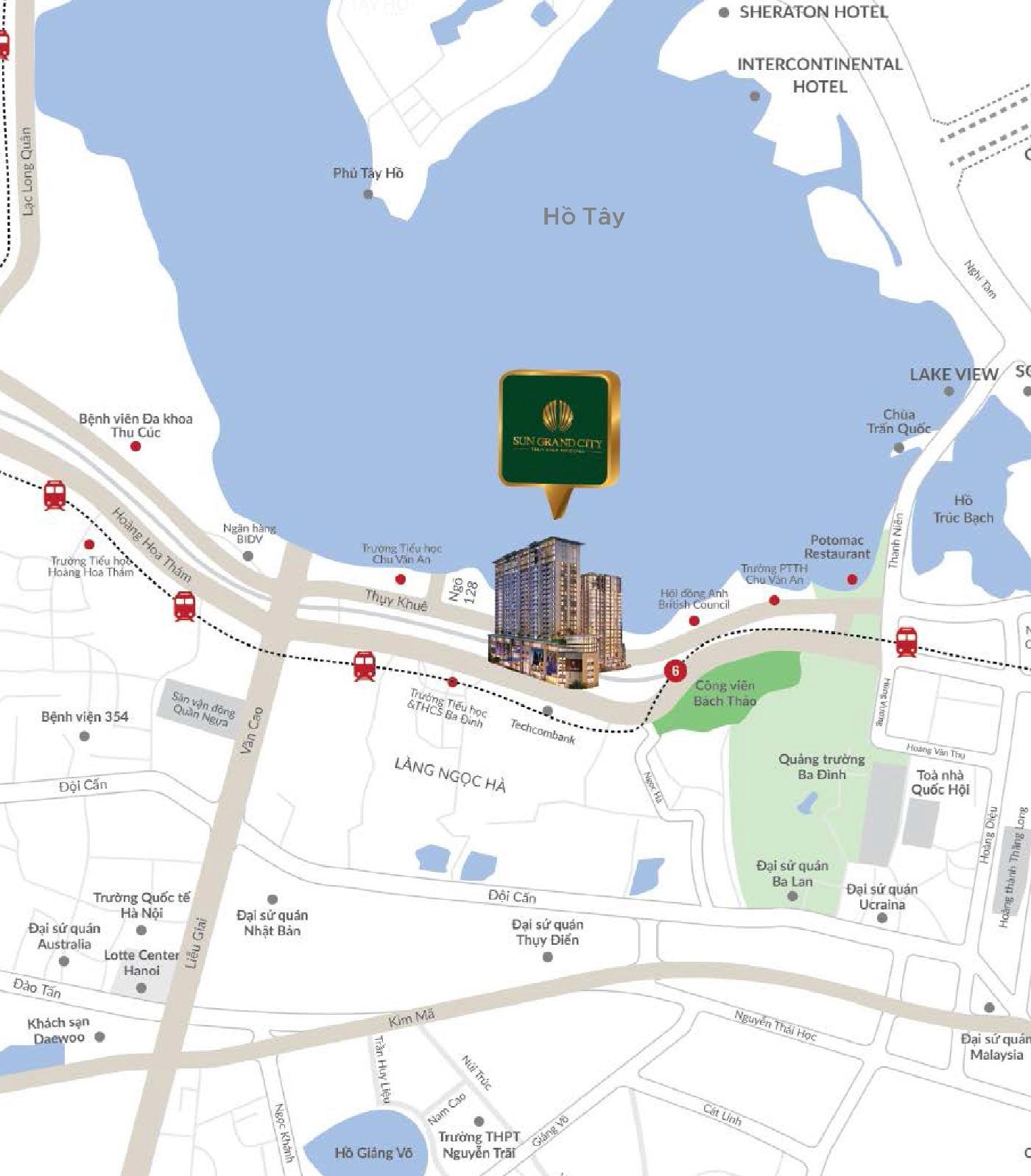 Bản đồ chụp vị trí dự án Sun Grand City Thuy Khuê - 69B Thụy Khuê