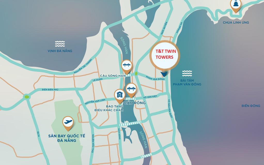 Vi trí dự án T&T Twin Towers Đà nẵng