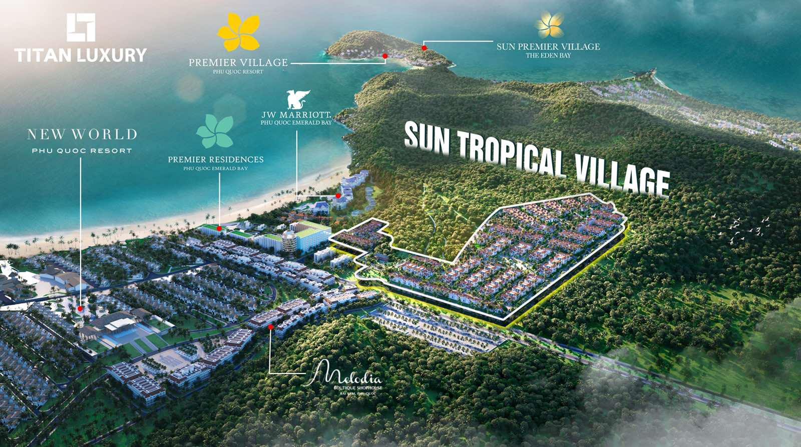 Vị trí Sun Tropical Village tại Bãi Kem Phú Quốc kế cận cách khách sạn nghỉ dưỡng hạng sang tầm cỡ thế giới