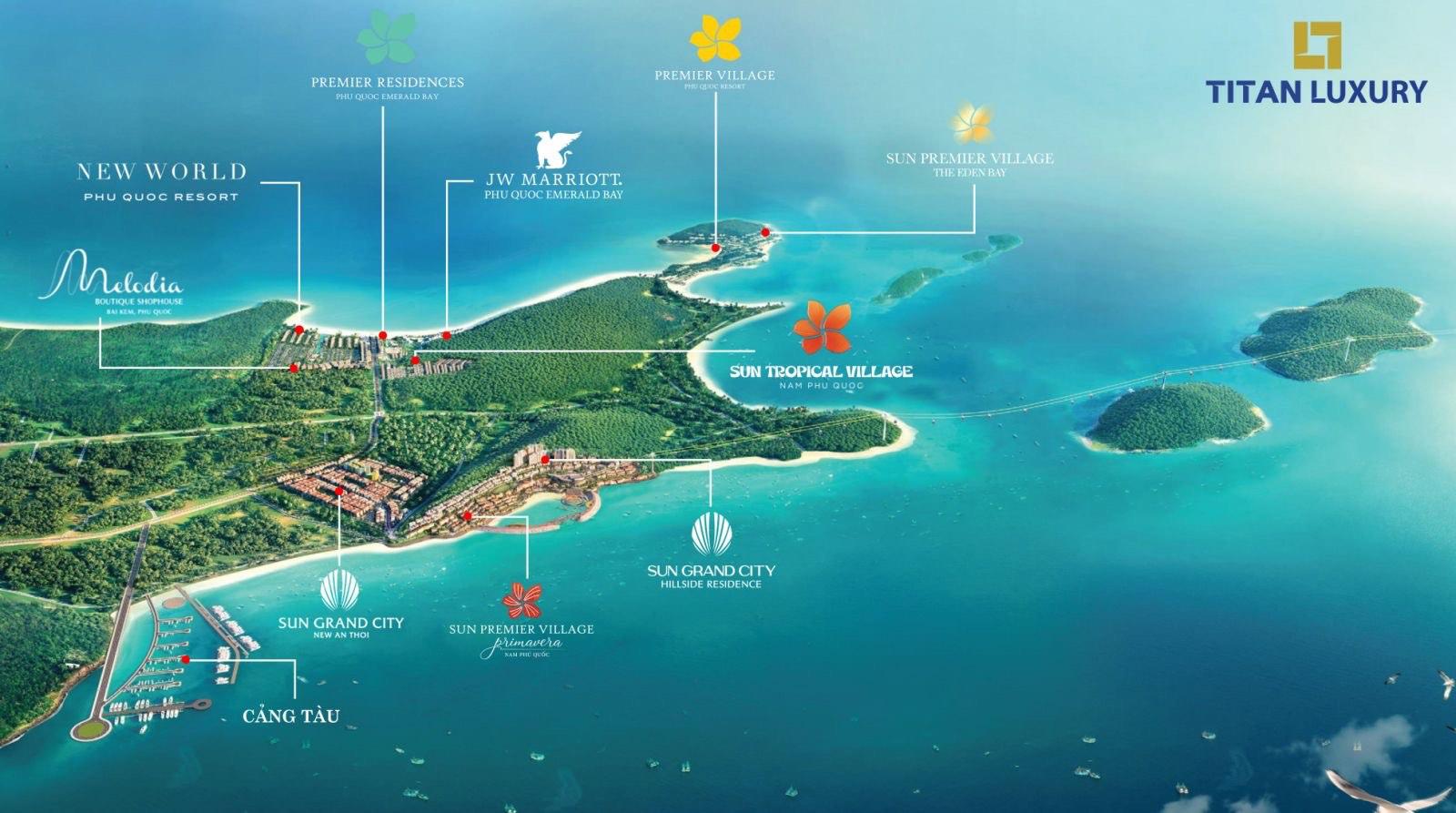 vị trí dự án Làng nhiệt đới Sun Tropical Village Phú Quốc