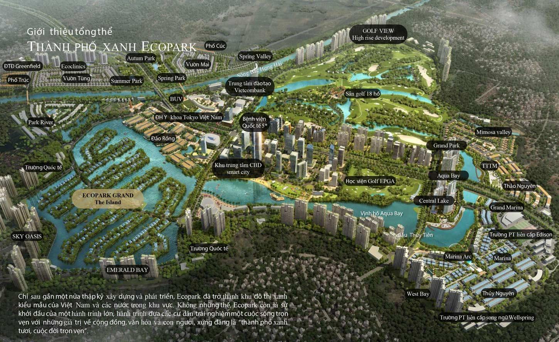 mặt bằng tổng thể quy hoạch toàn khu Ecopark và Ecopark Grand The Island