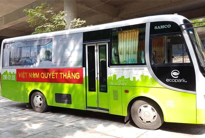 Ecopark phục vụ xe bus miễn phí cho cư dân và khách thăm quan